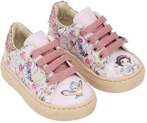 MonnaLisa Snow White Printed Faux Leather Sneakers
