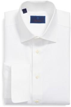 David Donahue Men's Regular Fit Texture French Cuff Dress Shirt