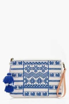 boohoo Grace Blue Embroidery Tassel Clutch Bag