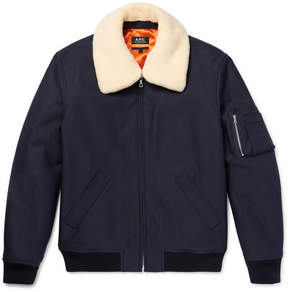 A.P.C. Manchester Faux Shearling-Trimmed Cotton-Blend Twill Bomber Jacket