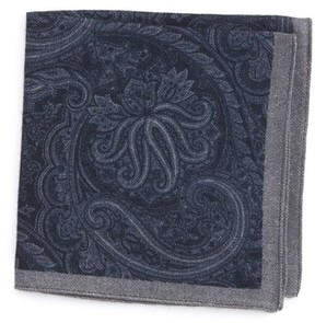 BOSS Men's Paisley Wool Pocket Square