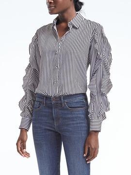 Banana Republic Dillon-Fit Stripe Cascade Ruffle-Sleeve Shirt