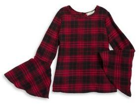 Soprano Girl's Plaid Bell Sleeve Top
