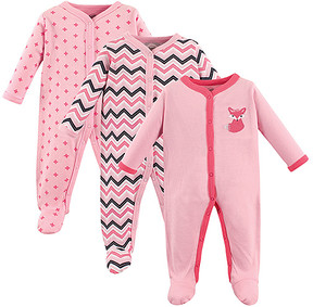 Luvable Friends Pink Fox Snap-Front Playsuit Set - Newborn & Infant