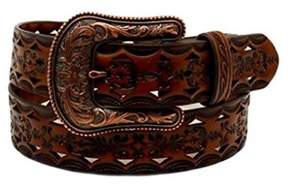 Ariat A1523667-M 1.5 in. Womens Tooled with Bronze Buckle Belt, Black & Tan - Medium