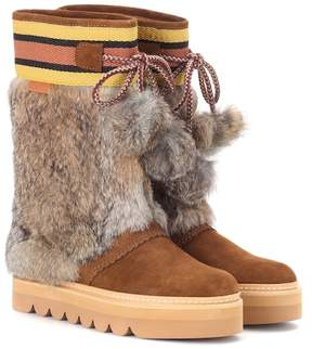 See by Chloe Fur-trimmed suede boots