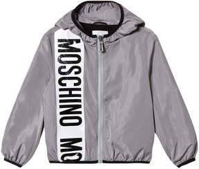 Moschino Grey Stripe Branded Hooded Windbreaker