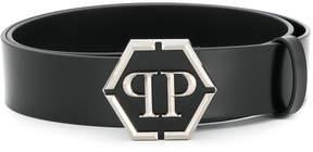 Philipp Plein logo plaque belt