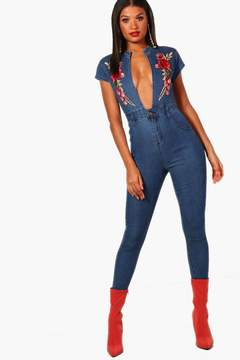 boohoo Rose Embroidered Plunge Denim Jumpsuit