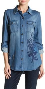 Nine West Carolina Embroidered Denim Military Jacket
