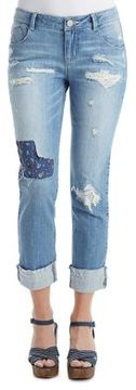 Democracy Distressed and Embroidered Patch Jeans