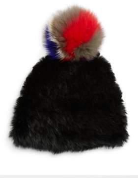 Surell Rabbit Fur Tuque with Fox Fur Pom-Pom