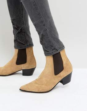 Asos Chelsea Boots In Stone Suede With Stacked Heel