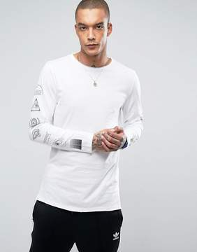 New Look Long Sleeve T-Shirt With Arm Print In White