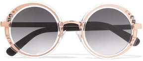 Jimmy Choo Round-frame Embellished Rose Gold-tone And Acetate Sunglasses