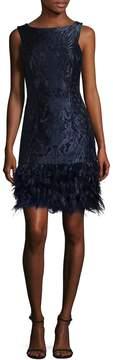 David Meister Women's Feather Hem Brocade Shift Dress