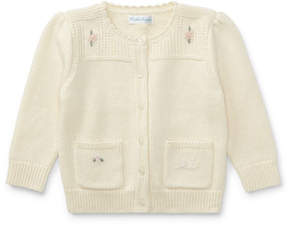 Ralph Lauren Wool-Blend Flower Embroidered Cardigan, Size 9-24 Months