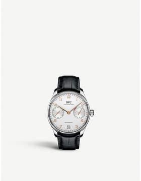 IWC IW500704 Portugieser alligator-leather watch