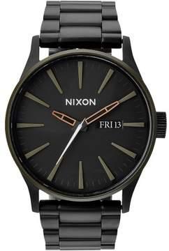 Nixon Sentry SS Watch - Men's Matte Black/Industrial Green, One Size