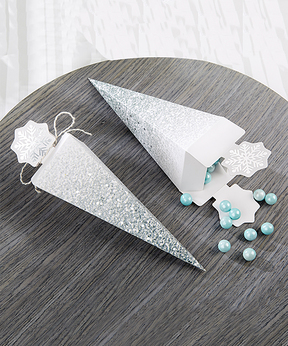 Silver Glitter Snowflake Cone Favor Box - Set of 12