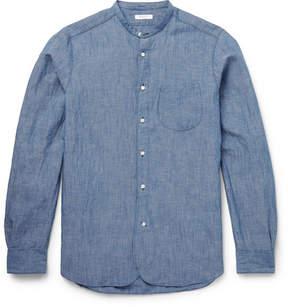 Boglioli Grandad-Collar Cotton And Linen-Blend Chambray Shirt