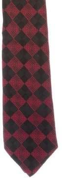 Gianni Versace Silk Check Print Tie