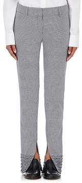 Cédric Charlier WOMEN'S SHIRRED-CUFFS HOUNDSTOOTH PANTS