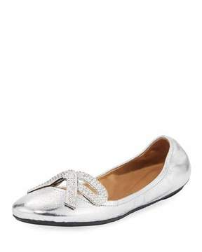 Marc Jacobs Willa Metallic Strass Bow Ballerina Flat