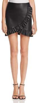 Aqua Ruffled Faux Leather Skirt - 100% Exclusive