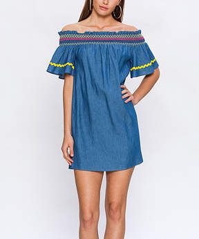 Flying Tomato Indigo Embroidery-Accent Chambray Off-Shoulder Dress - Women
