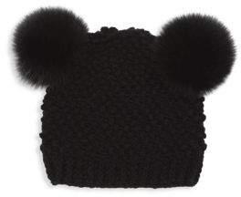 Surell Popcorn Fox Fur Knit Beanie