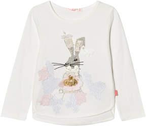 Billieblush White Sequin Bunny Print Tee