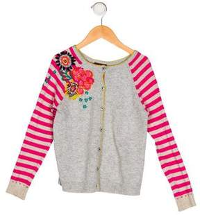 Catimini Girls' Embroidered Button-Up Cardigan