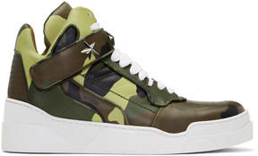 Givenchy Green and Brown Camo Tyson High-Top Sneakers