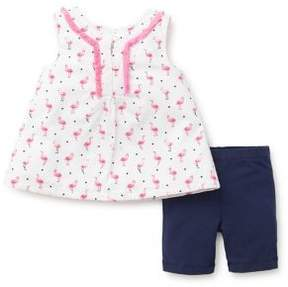 Little Me Baby Girl's Two-Piece Tropical Knit Top and Shorts Set