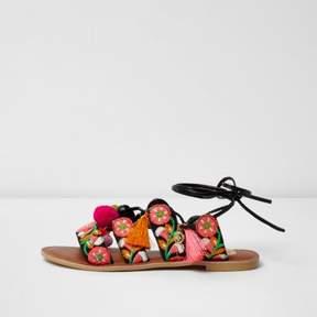 River Island Womens Black floral embroidered pom pom sandals