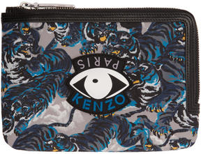 Kenzo Multicolor Flying Tiger and Eyes Multi Icons Passport Pouch