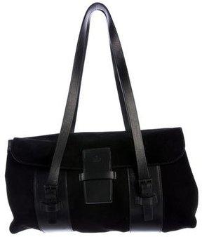 Gucci Suede Flap Shoulder Bag - BLACK - STYLE