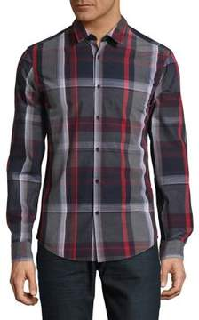 BOSS GREEN Plaid Cotton Button-Down Shirt