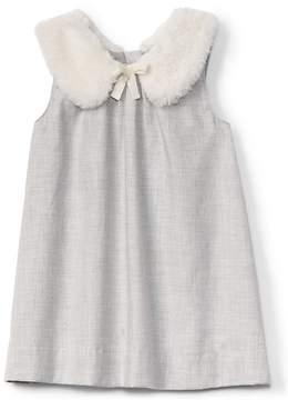 Gap Faux-fur collar shift dress