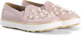 Stuart Weitzman Pink Pearl Embellished Slip On Trainer