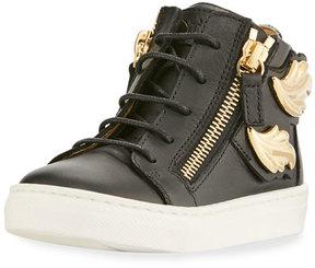 Giuseppe Zanotti Kids' Unisex Wing Leather Sneaker, Black, Youth