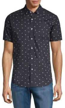 Report Collection Bumble Bee-Print Cotton Button-Down Shirt
