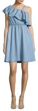 Noisy May Ruffled Trim Chambray Dress