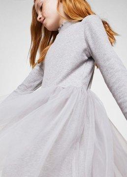 MANGO Tulle appliqué dress