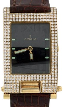 Corum Tabogan 18K Yellow Gold Leather & Diamond 24mm x 40mm Watch