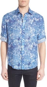 Bugatchi Men's Shaped Fit Floral Linen Sport Shirt