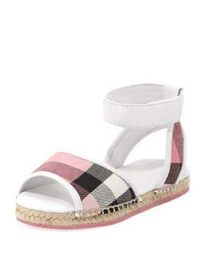 Burberry Check Open-Toe Sandal, Blush, Youth