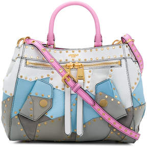 Moschino patchwork studded tote