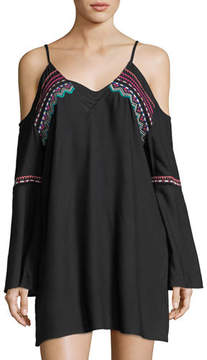 LaBlanca La Blanca Spice Market Cold-Shoulder Tunic w/ Embroidery